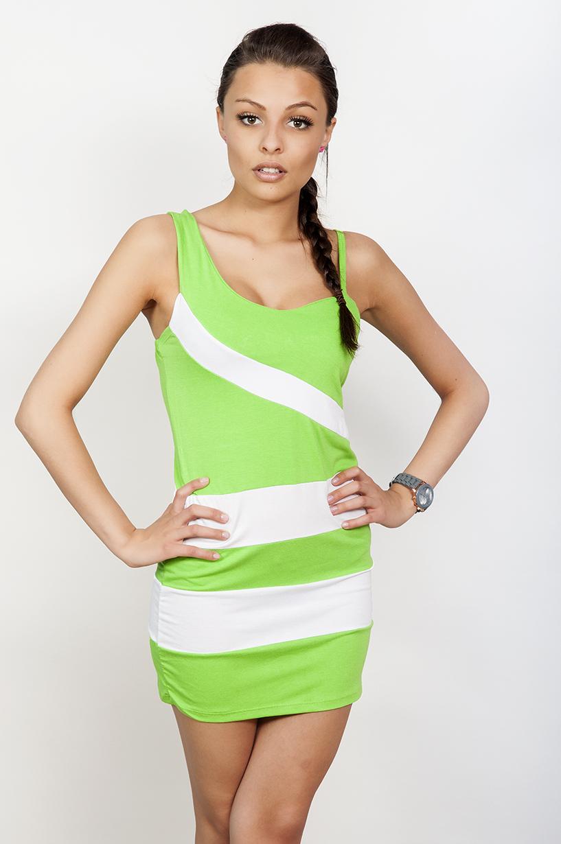 Dvoubarevné letní šaty s pruhy barva neónově zelená