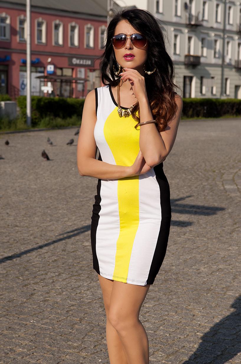 Trojbarevné letní šaty barva neónově žlutá