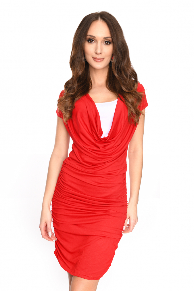 Dlouhé šaty s řasením a krátkým rukávem barva červená S/M