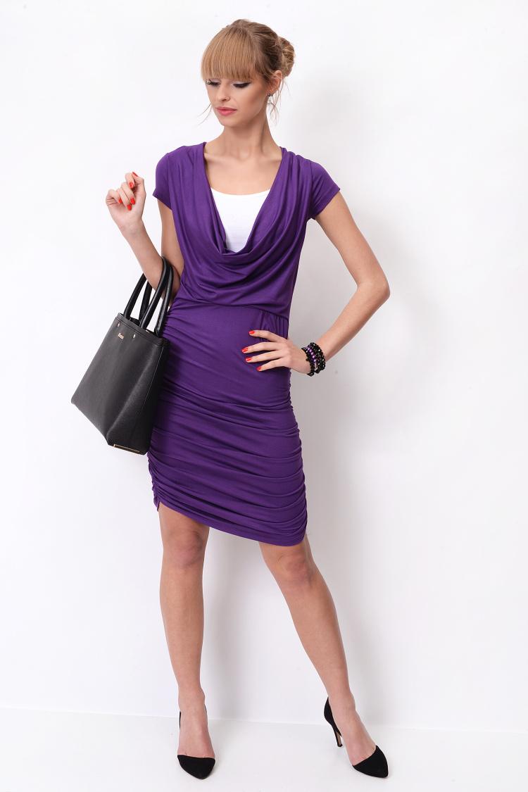 Dlouhé šaty s řasením a krátkým rukávem barva fialová