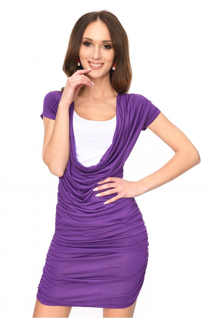 Dlouhé šaty s řasením a krátkým rukávem barva fialová S/M