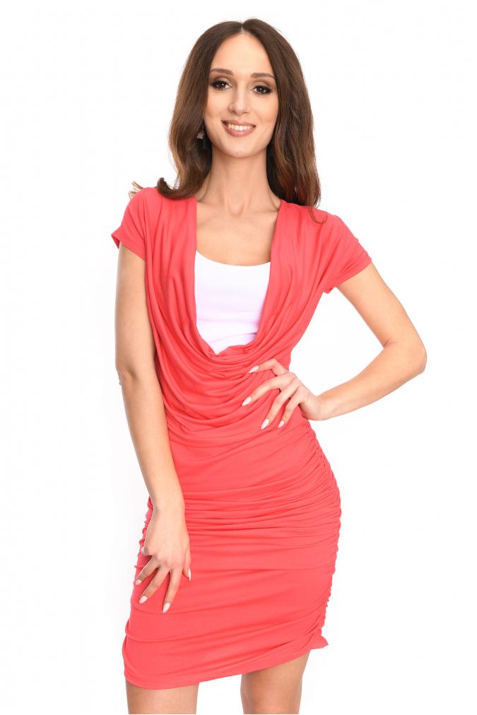 Dlouhé šaty s řasením a krátkým rukávem barva korálová S/M