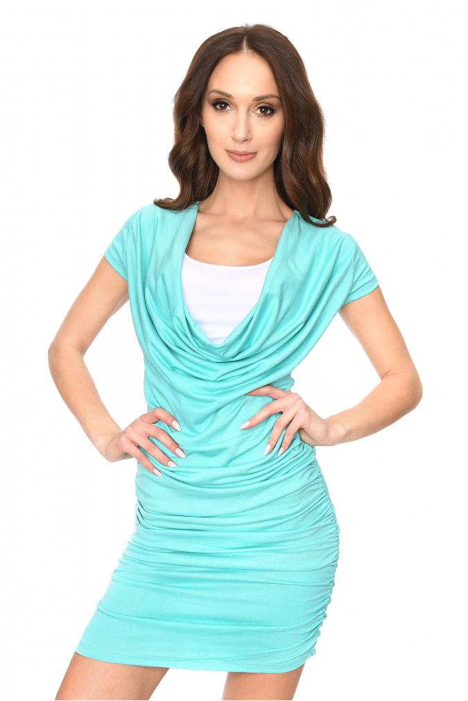 Dlouhé šaty s řasením a krátkým rukávem barva mátová L/XL