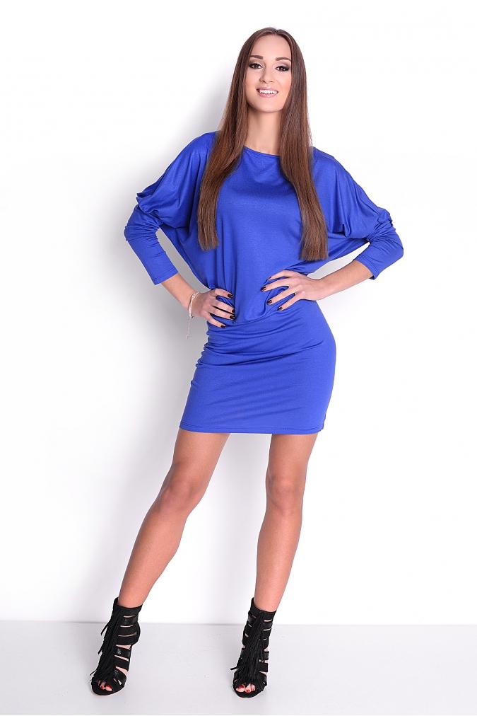 Šaty s netopýřími rukávy barva modrá