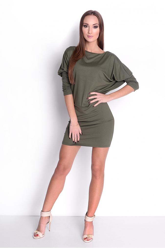 Šaty s netopýřími rukávy barva khaki  a700f9c594