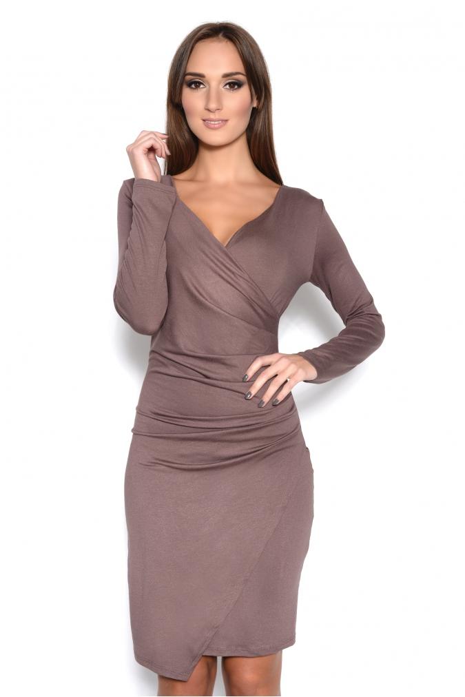 Řasené šaty s dlouhým rukávem a efektem sukně barva kapučíno
