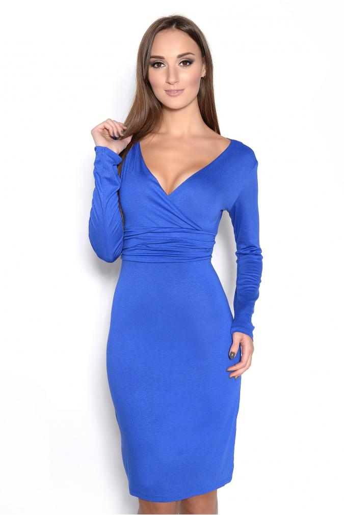 Šaty s dlouhým rukávem a véčkovým dekoltem barva modrá L/XL