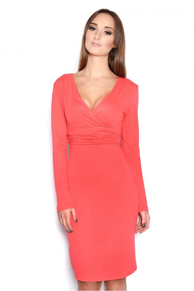 Šaty s dlouhým rukávem a véčkovým dekoltem barva korálová L/XL