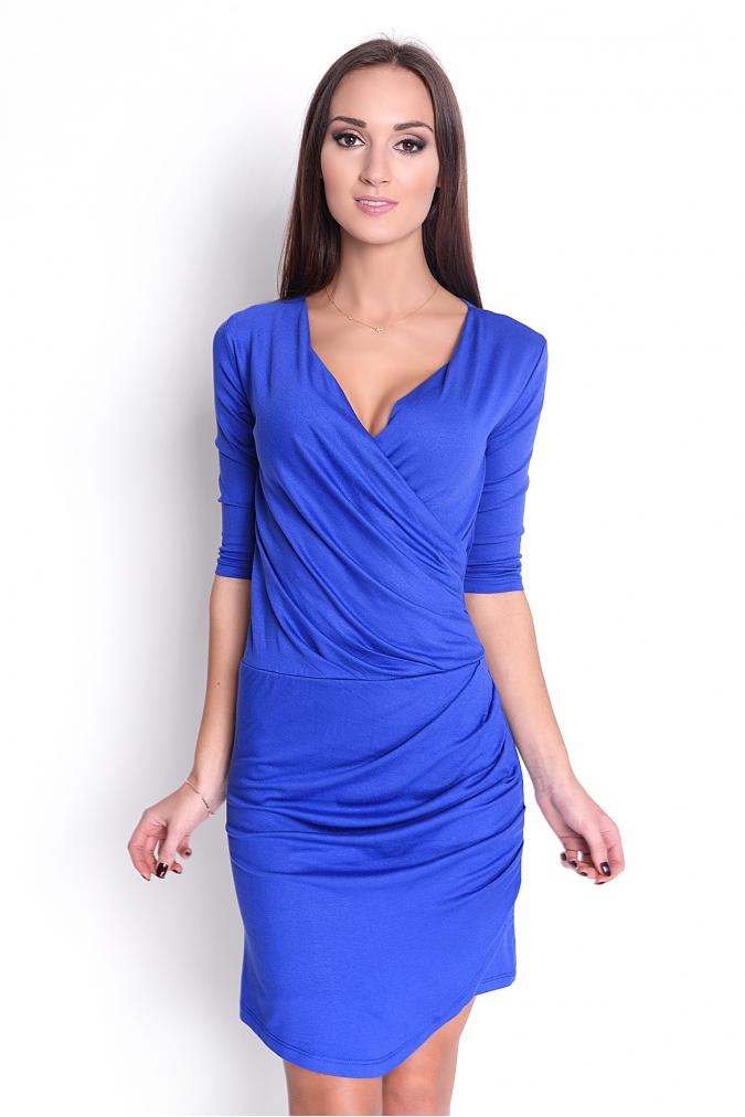 Řasené šaty s véčkovým výstřihem barva modrá XL