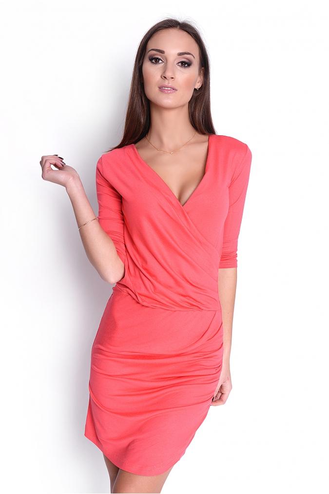 Řasené šaty s véčkovým výstřihem barva korálová XL