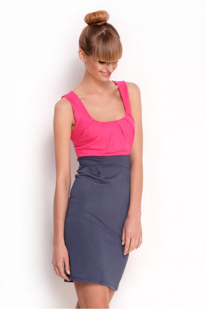 Šaty bez rukávů a řasením v dekoltu a bocích barva růžová/grafitová L/XL