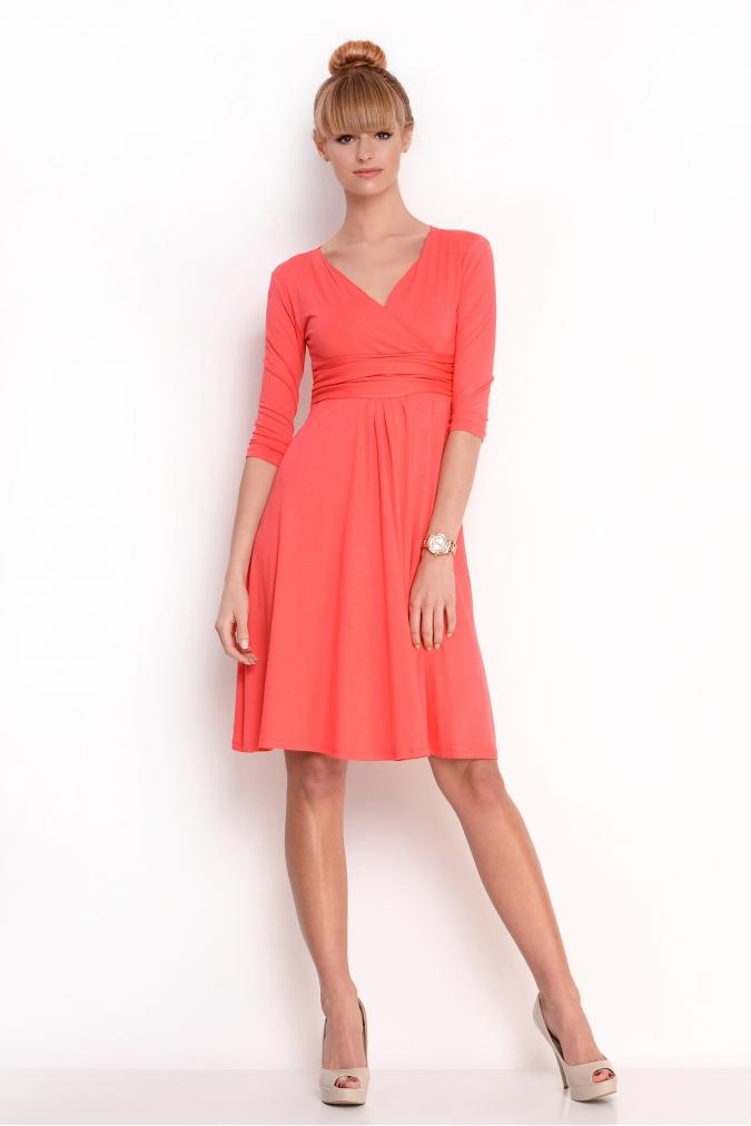 Delší vycházkové šaty s tříčtvrtečním rukávem barva korálová XXXXL/XXXXXL