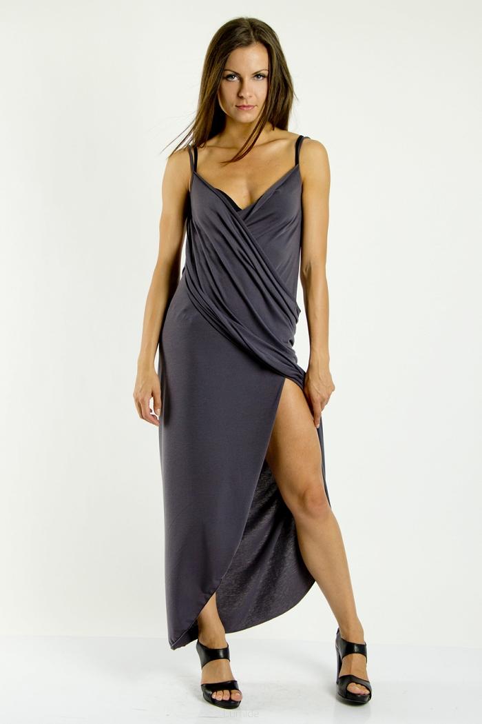 c1e0a71991a Plážové šaty pareo dlouhé barva grafitová