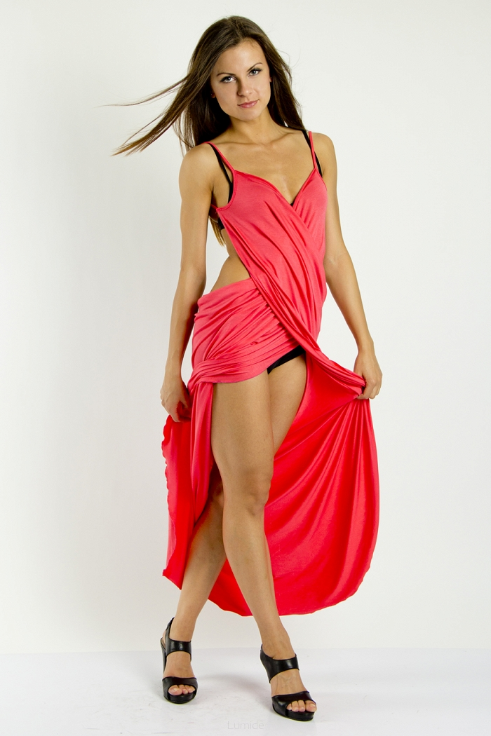 cc19a50c9e7 Plážové šaty pareo dlouhé barva korálová