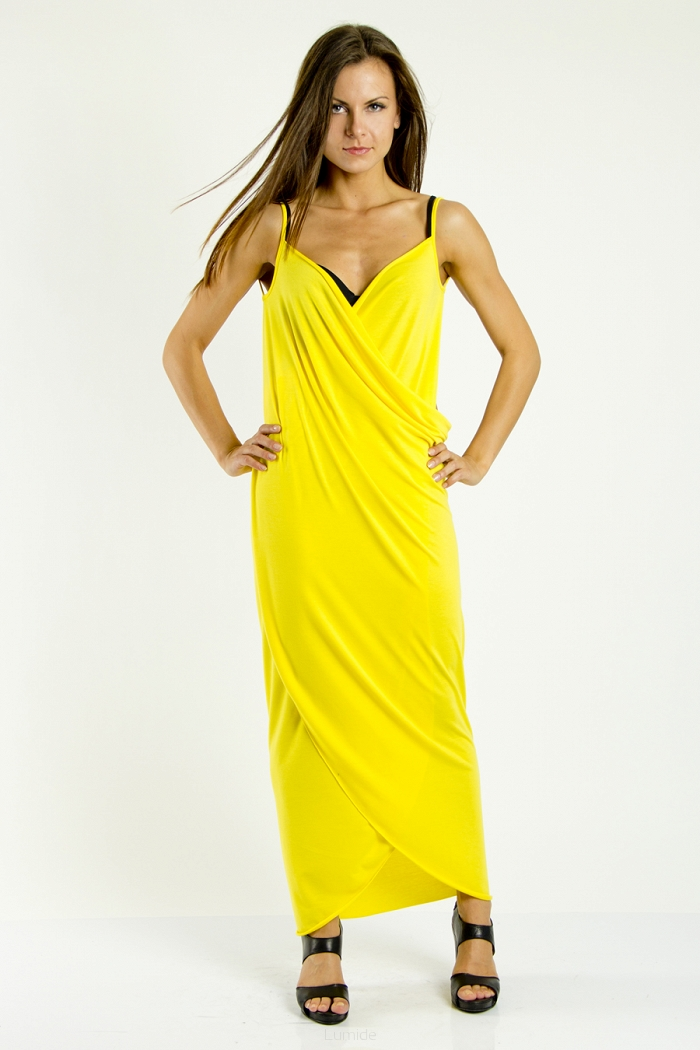 Plážové šaty pareo dlouhé barva žlutá S/M