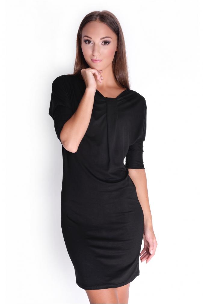 Černé elegantní šaty s tříčtvrtečním rukávem XL