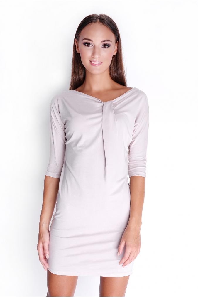 Béžové elegantní šaty s tříčtvrtečním rukávem XL