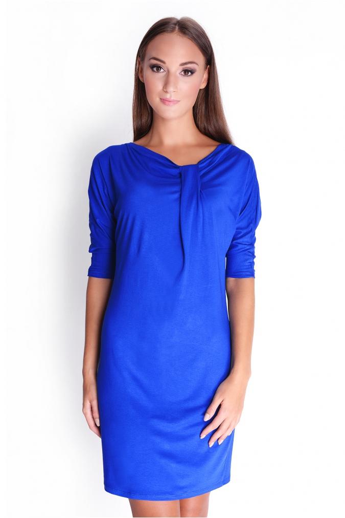 Modré elegantní šaty s tříčtvrtečním rukávem XL