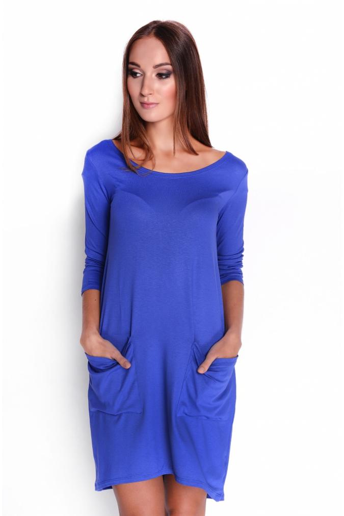 Modré šaty s řasenýma kapsičkama