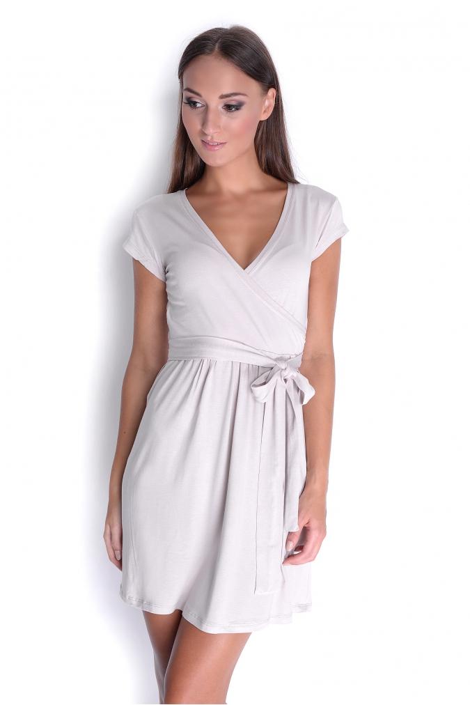Béžové šaty s mašličkou M