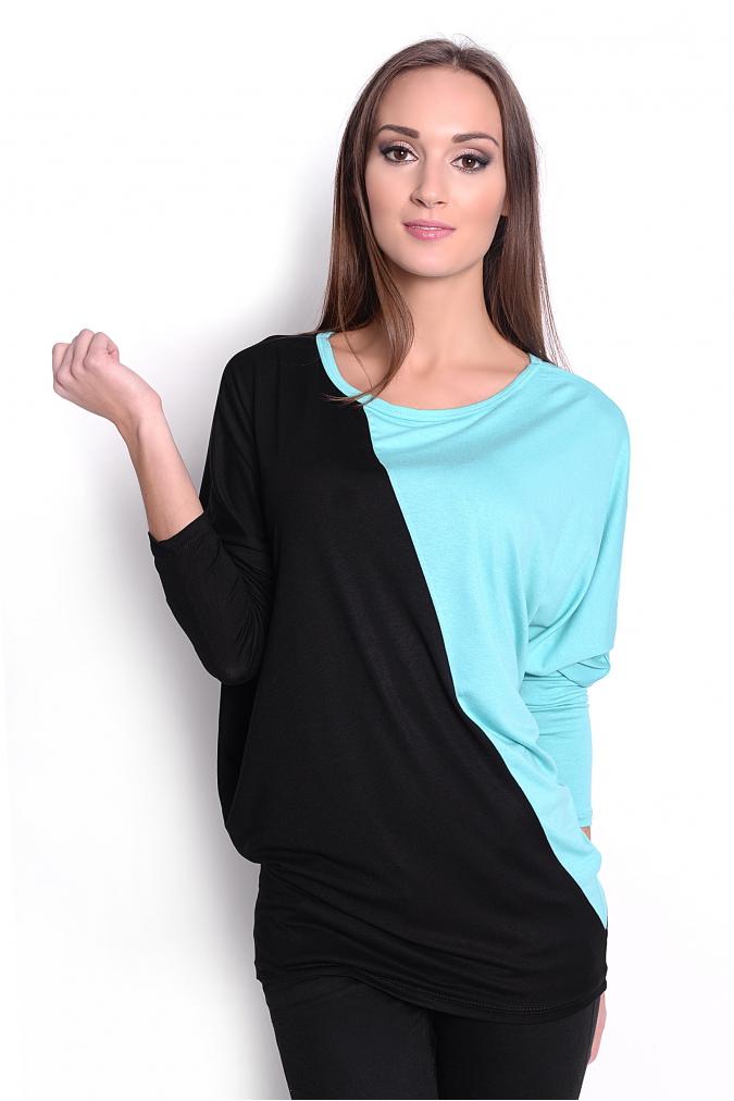 Dvoubarevná tunika s netopýřími rukávy barva mátová/černá L/XL