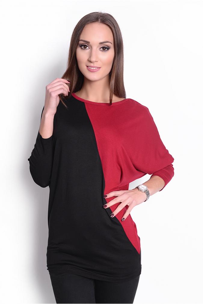 Dvoubarevná tunika s netopýřími rukávy barva bordó/černá L/XL