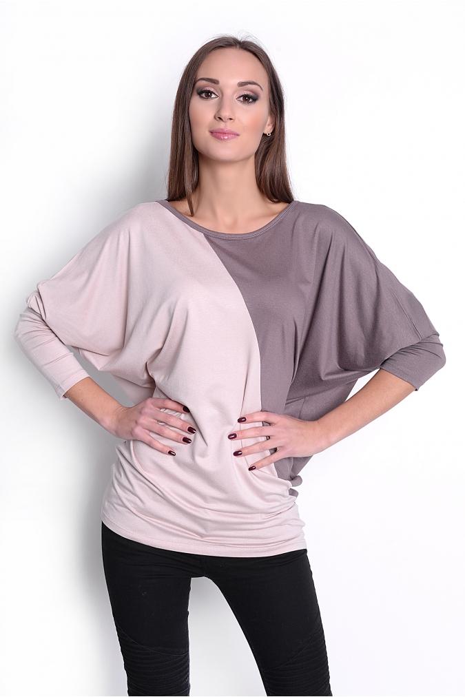 Dvoubarevná tunika s netopýřími rukávy barva kapučíno/béžová L/XL