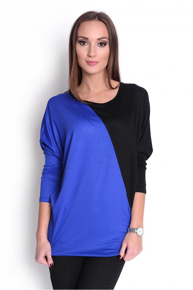 Dvoubarevná tunika s netopýřími rukávy barva modrá/černá L/XL