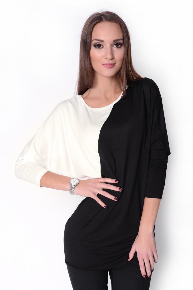 Dvoubarevná tunika s netopýřími rukávy barva ecru/černá L/XL