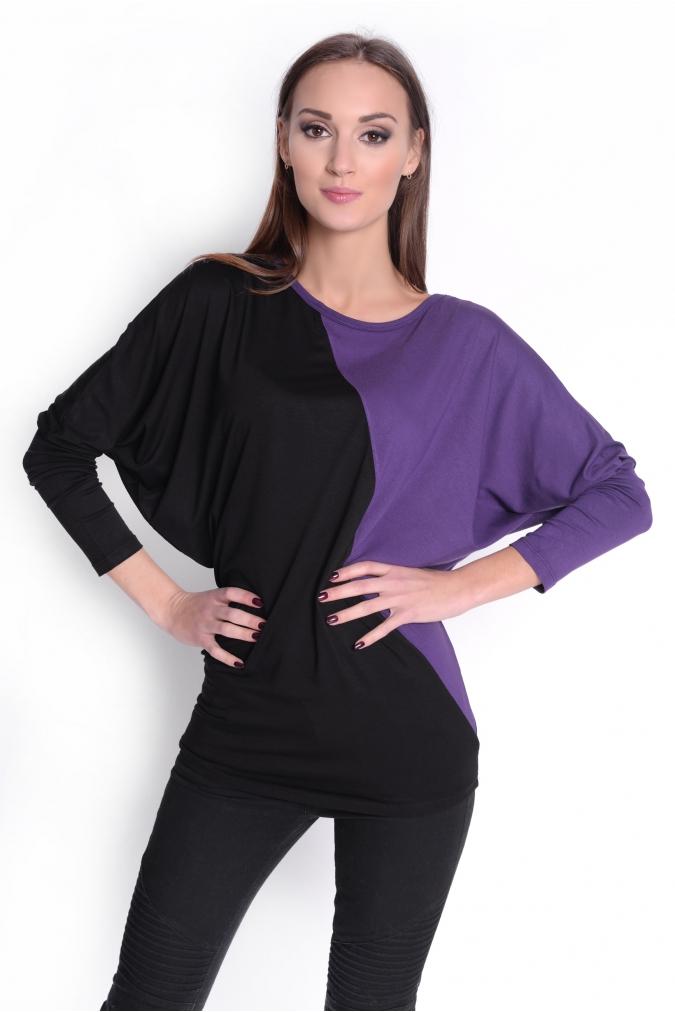 Dvoubarevná tunika s netopýřími rukávy barva fialová/černá L/XL