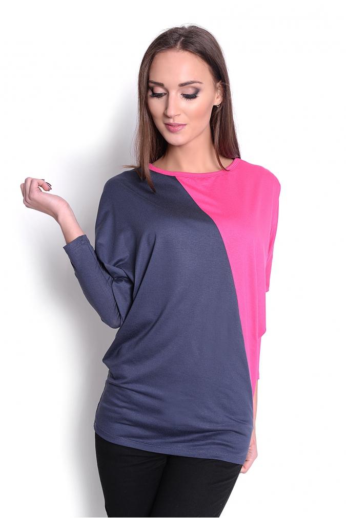 Dvoubarevná tunika s netopýřími rukávy barva grafitová/růžová L/XL