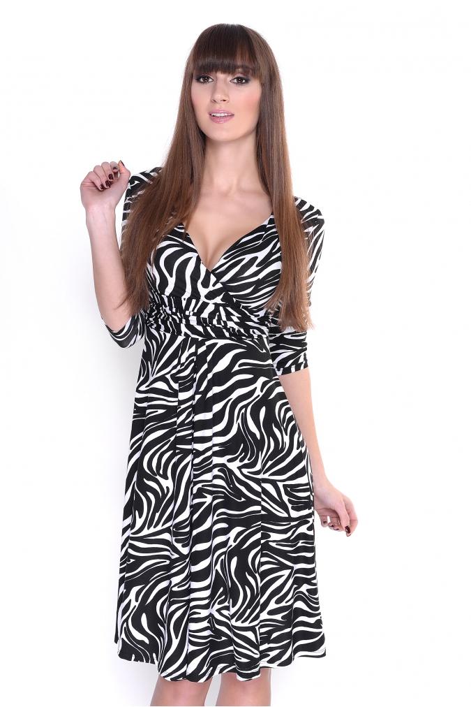 Delší vycházkové šaty vzor zebra M