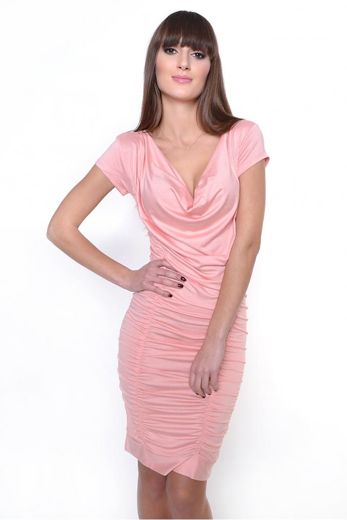 Broskvové řasené šaty XL