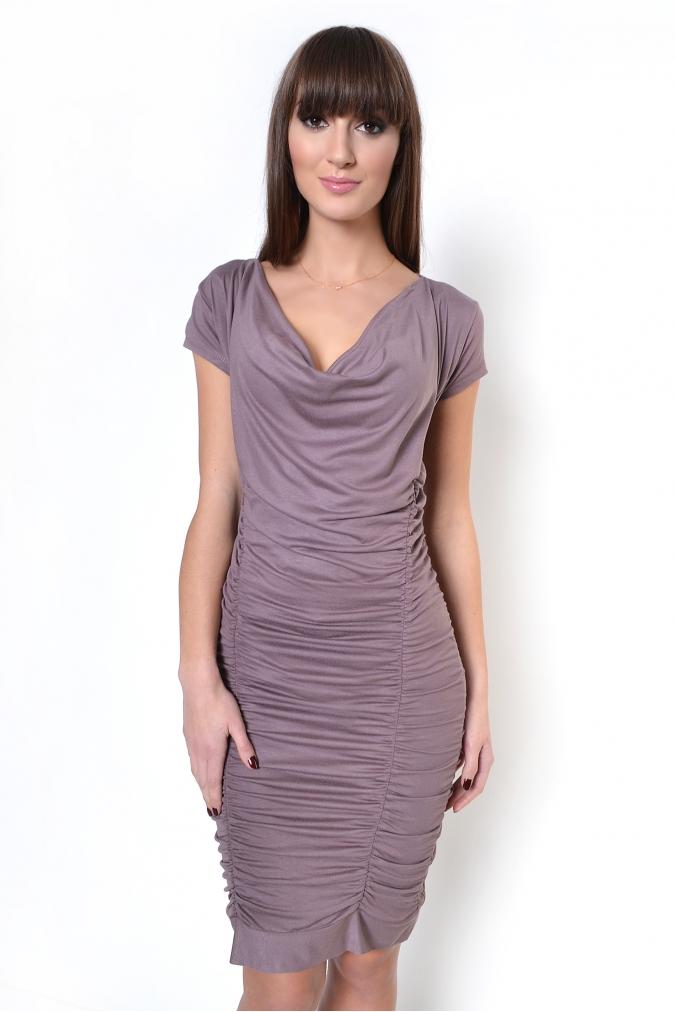 Kapučínové řasené šaty XL