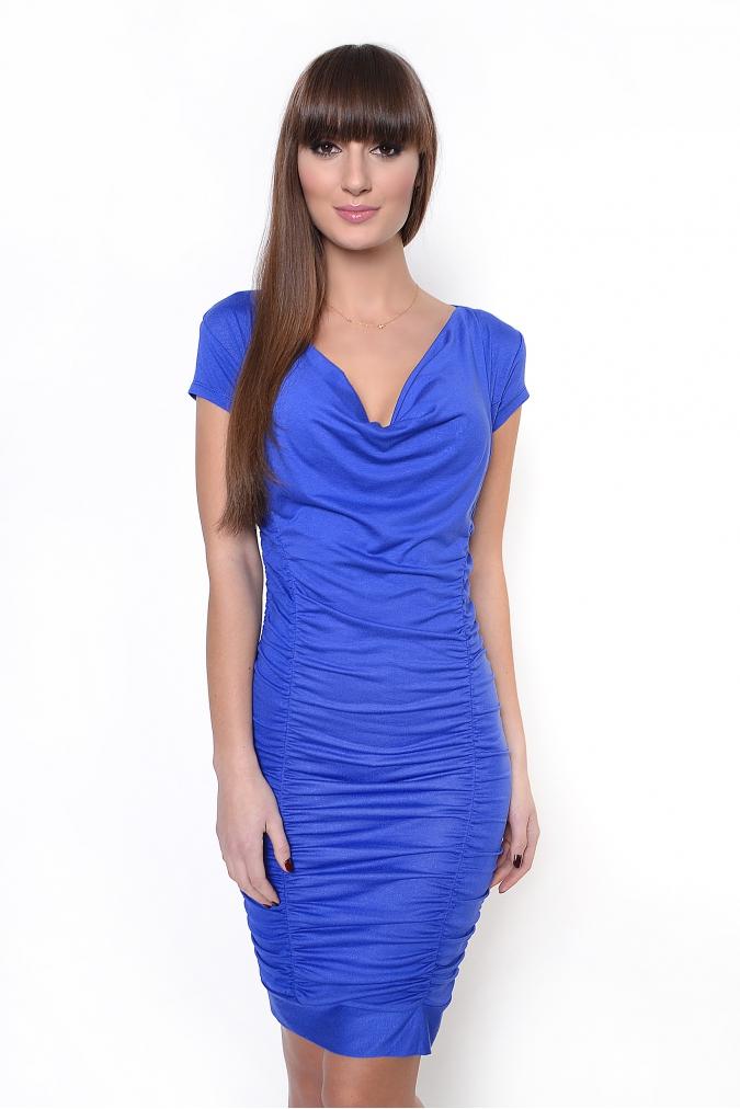 Modré řasené šaty XL
