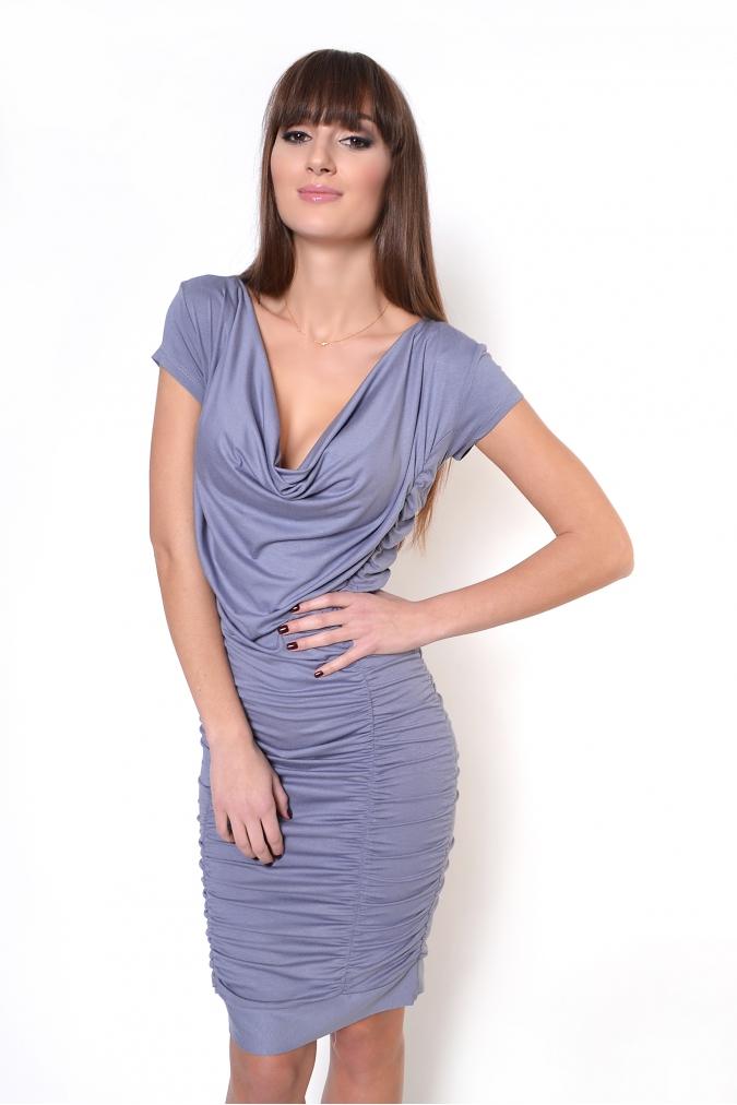 Šedé řasené šaty XL