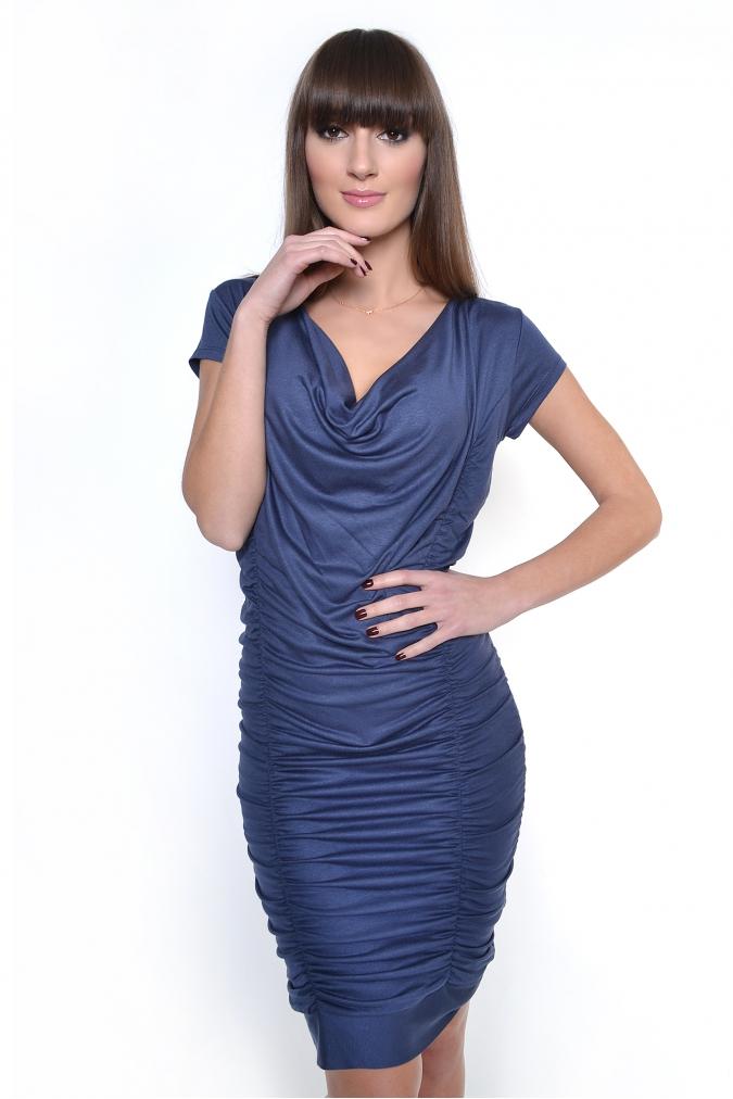 Grafitové řasené šaty XL