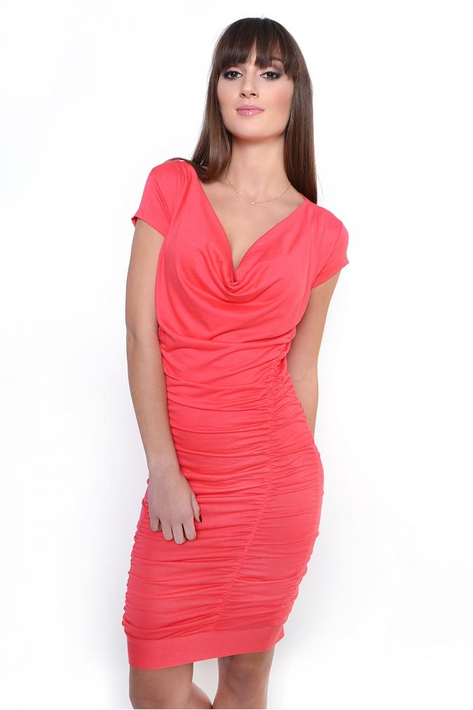 Korálové řasené šaty XL