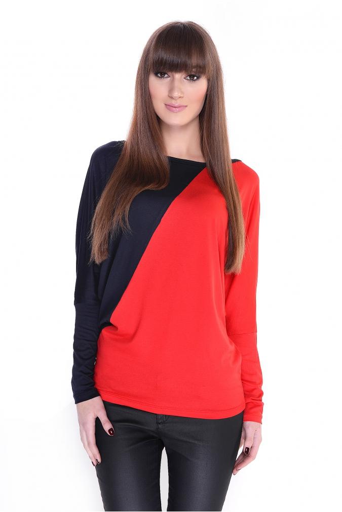 Dvoubarevná tunika s netopýřími rukávy barva granátová/červená L/XL