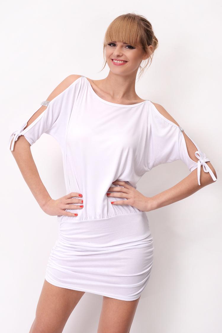Krátké šaty s mašličkou a flitry na rukávech barva bílá