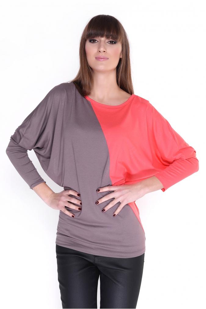 Dvoubarevná tunika s netopýřími rukávy barva korálová/kapučíno L/XL