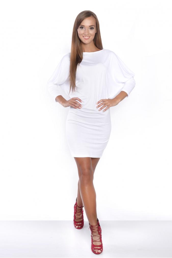 Šaty s netopýřími rukávy barva bílá  8a00ad0085