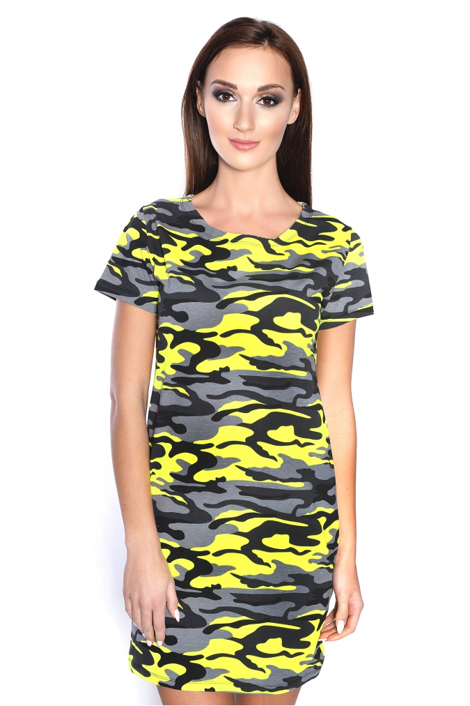 Maskáčové šaty barva neónově žlutá S/M