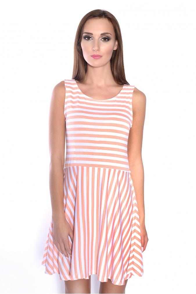 Pruhované letní šaty barva broskvová
