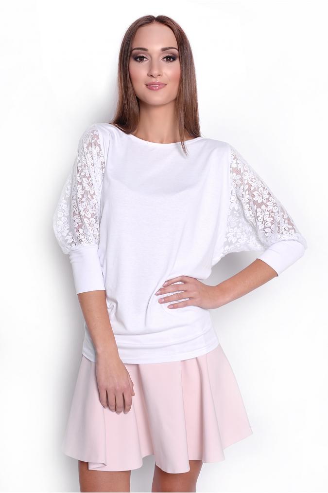 Tunika styl kimono s krajkovými rukávy barva bílá L/XL