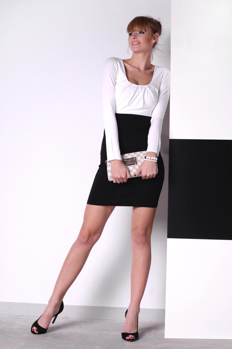 Šaty s dlouhým rukávem a řasením v dekoltu a bocích barva bílá/černá XL
