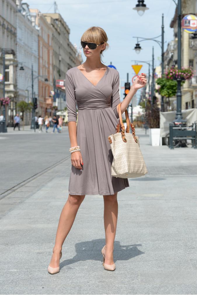 Delší vycházkové šaty s tříčtvrtečním rukávem barva kapučíno XXXXL/XXXXXL