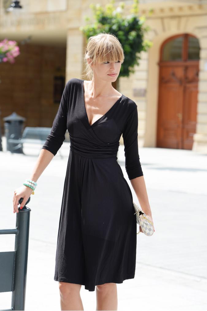 Delší vycházkové šaty s tříčtvrtečním rukávem barva černá XXXXL/XXXXXL