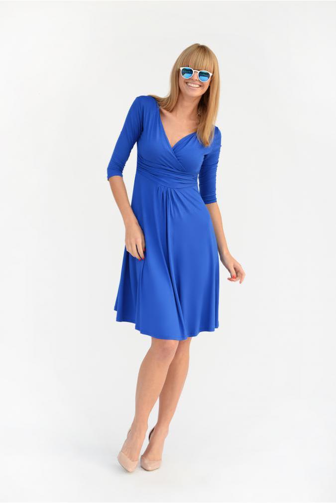 Delší vycházkové šaty s tříčtvrtečním rukávem barva modrá XXXXL/XXXXXL