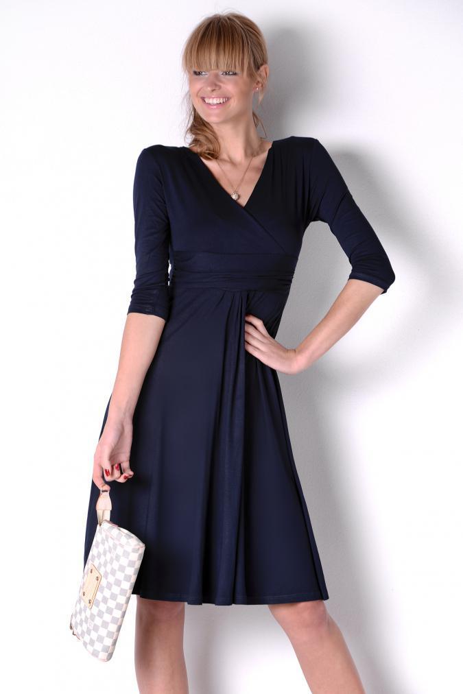 Delší vycházkové šaty s tříčtvrtečním rukávem barva granátová XXXXL/XXXXXL